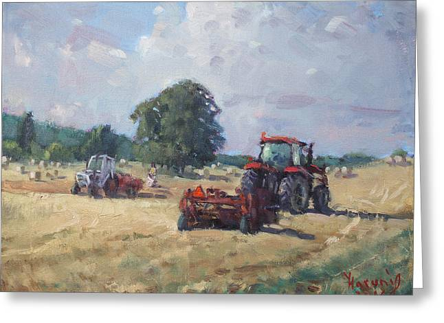 Tractors In The Farm Georgetown Greeting Card