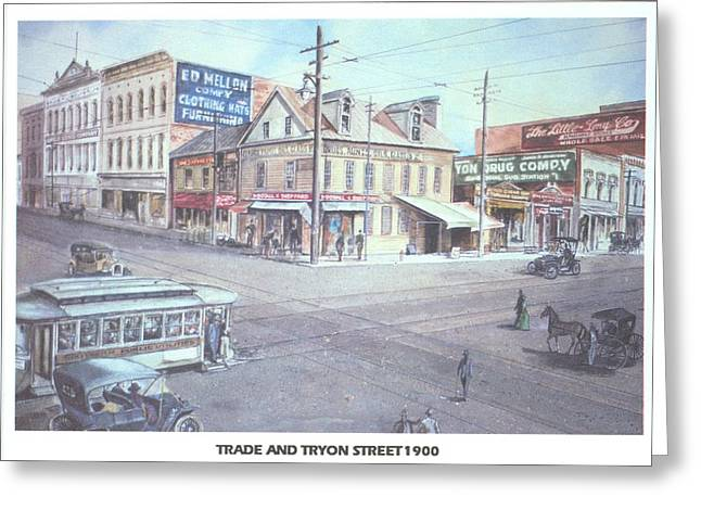 Trade And Tryon Street 1900 Greeting Card by Charles Roy Smith