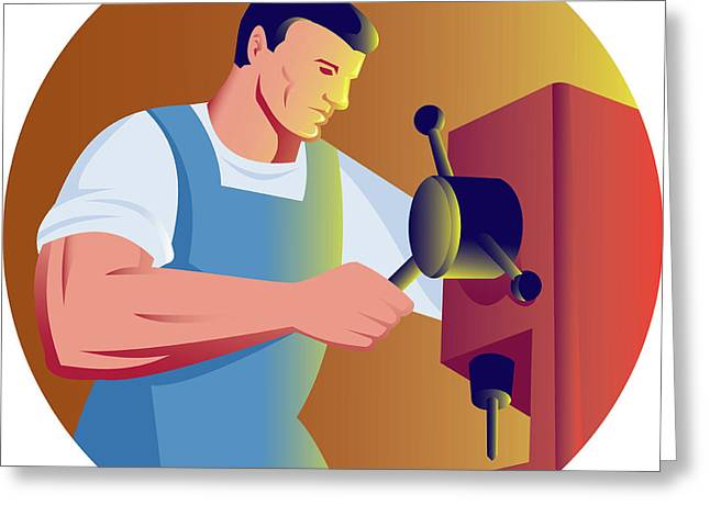 Trade Factory Worker Working With Drill Press Greeting Card by Aloysius Patrimonio