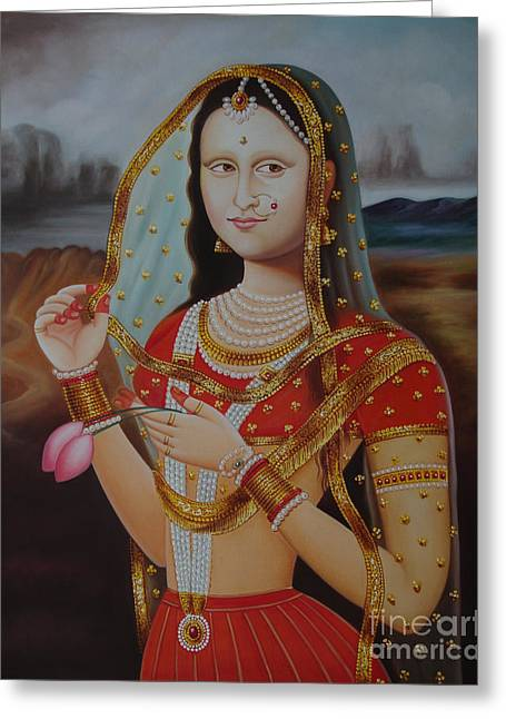 Traditional Art Monalisa Oil Painting On Canvas Art N India Art Gallery Greeting Card