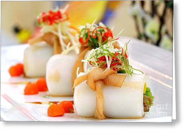 Traditional Chinese Hakka Rice Noodle Roll Greeting Card by Yali Shi