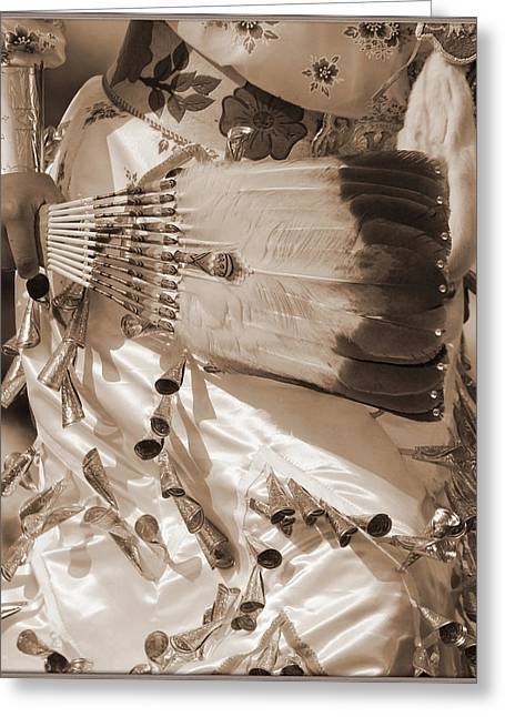 Greeting Card featuring the photograph Traditional Dancer In Sepia by Heidi Hermes