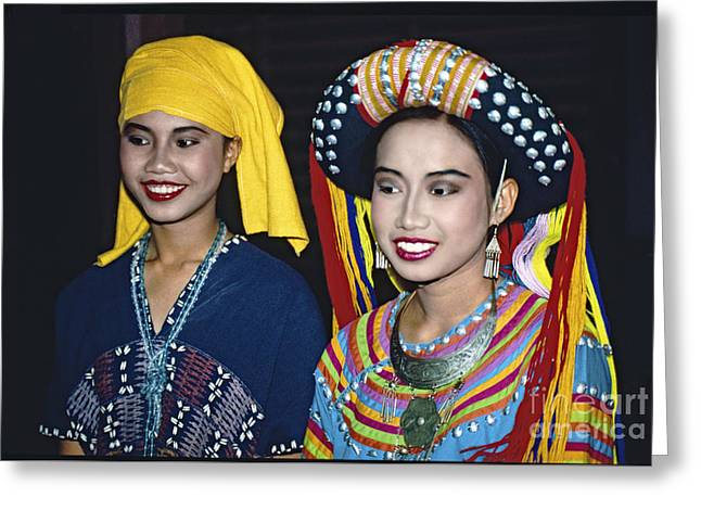Greeting Card featuring the photograph Traditional Dressed Thai Ladies by Heiko Koehrer-Wagner