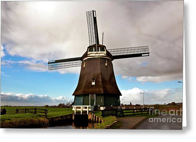 Greeting Card featuring the photograph Traditional Dutch Windmill Near Volendam  by Silva Wischeropp