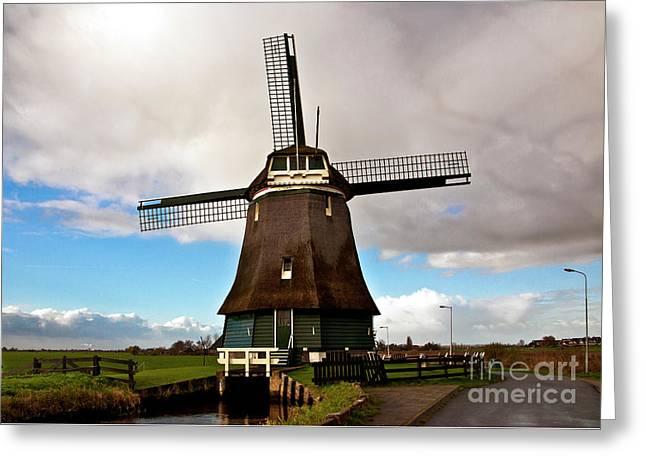 Traditional Dutch Windmill Near Volendam  Greeting Card