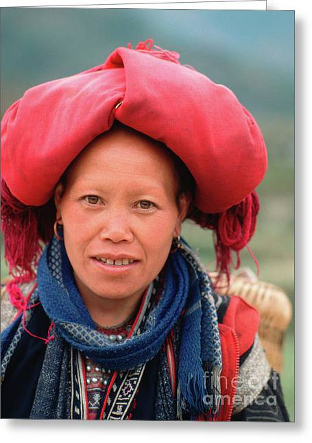 Traditional Fashion Of A Red Dzao Woman Greeting Card