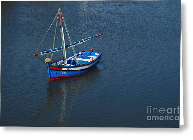 Traditional Fishing Sailboat In Tavira Greeting Card by Angelo DeVal