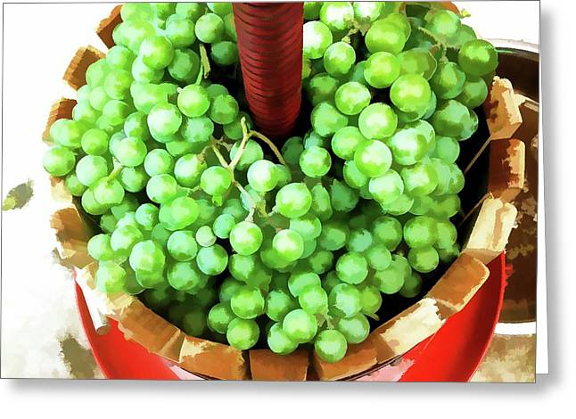 Traditional Manual Pressing Utensil Full Of White Grape Greeting Card by Lanjee Chee