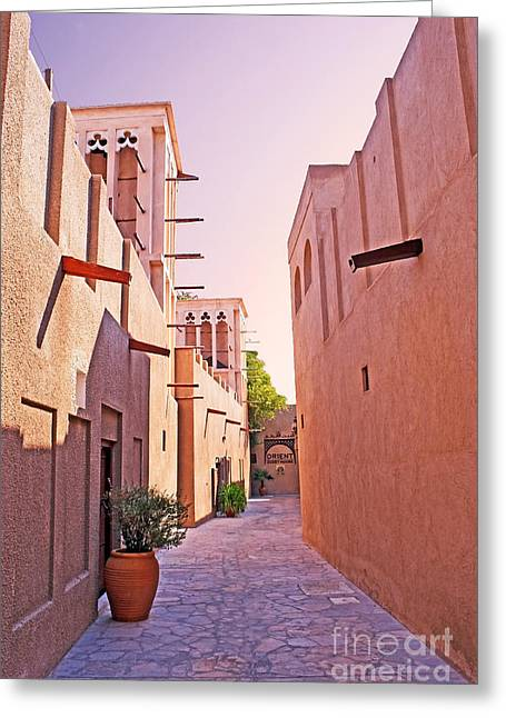 Traditional Middle Eastern Street In Dubai Greeting Card by Chris Smith