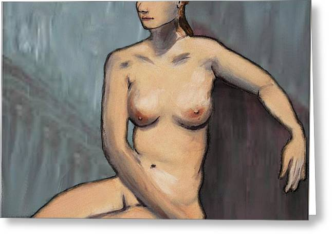 Traditional Modern Female Nude Seated Greeting Card