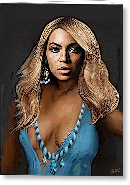 Traditional Modern Original Painting Beyonce In Turquoise Greeting Card