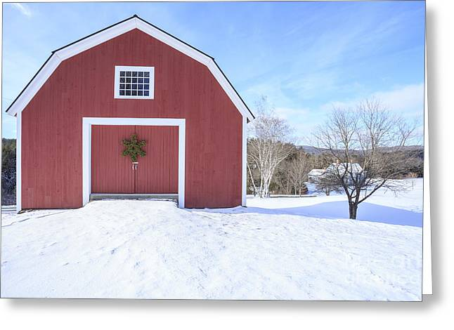 Traditional New England Red Barn In Winter Greeting Card by Edward Fielding