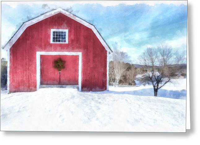 Traditional New England Red Barn In Winter Watercolor Greeting Card by Edward Fielding