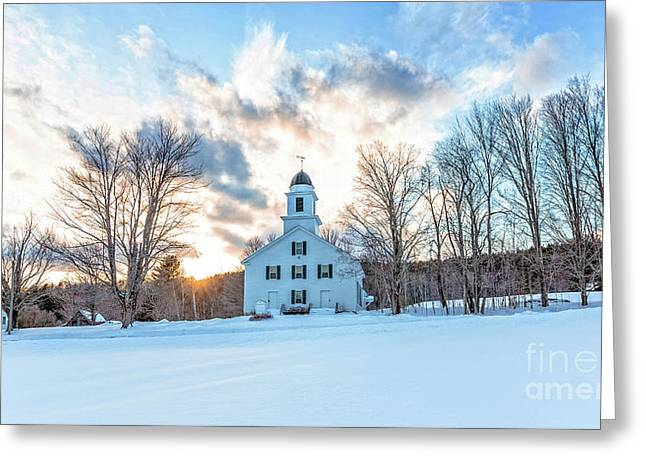 Traditional New England White Church Etna New Hampshire Greeting Card by Edward Fielding