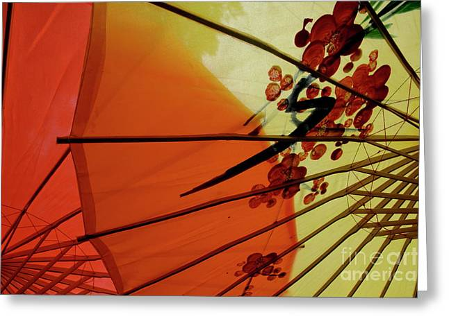 Traditional Red And Yellow Umbrellas Greeting Card by Sami Sarkis