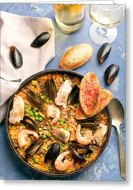Traditional Seafood Paella In The Pan Greeting Card by Vadim Goodwill