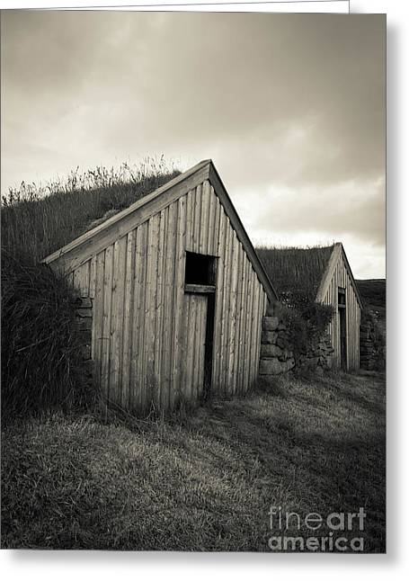 Greeting Card featuring the photograph Traditional Turf Or Sod Barns Iceland by Edward Fielding