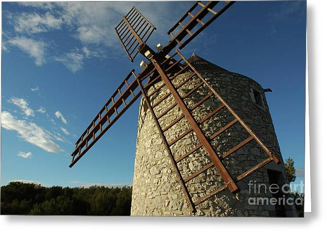 Traditional Stone Windmill In Les Pennes-mirabeau Greeting Card