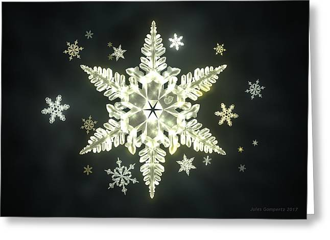 Traditional Sunlight Snowflakes Greeting Card