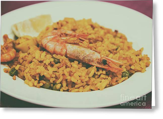 Traditional Valencian Paella With Seafood Greeting Card by Radu Bercan