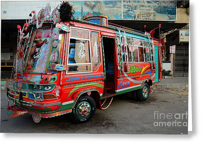 Traditionally Decorated Pakistani Bus Art Karachi Pakistan Greeting Card by Imran Ahmed