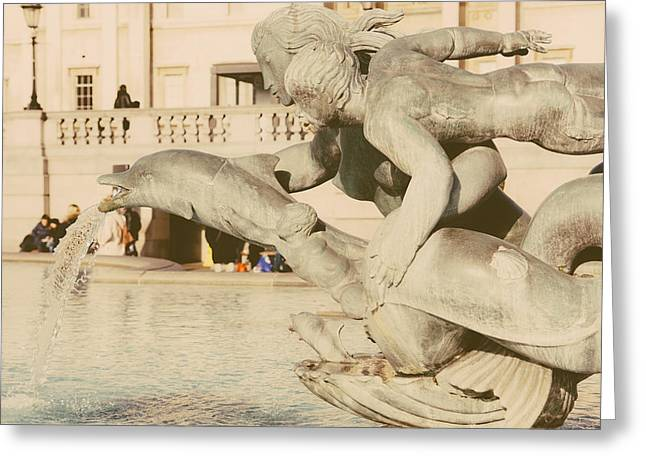 Trafalgar Square Dolphin Statue Greeting Card by Pati Photography