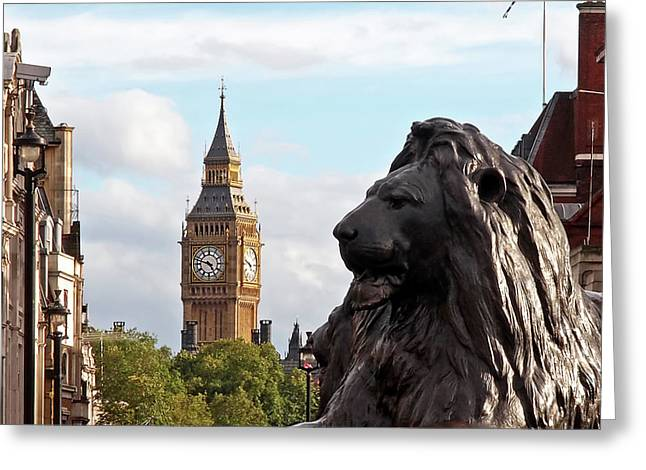 Trafalgar Square Lion With Big Ben Greeting Card