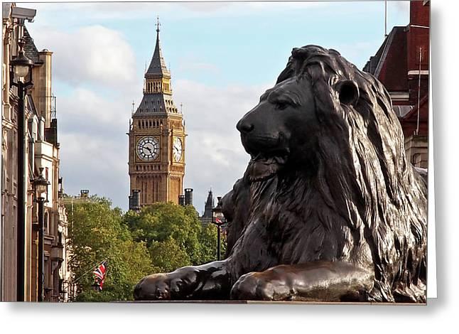 Trafalgar Square Lion With Big Ben Greeting Card