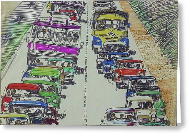 Greeting Card featuring the drawing Traffic 1960s. by Mike Jeffries