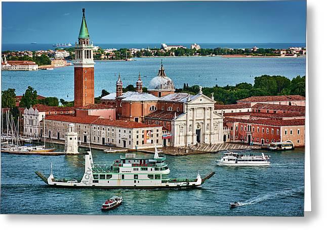 Traffic Around The Venetian Church Greeting Card
