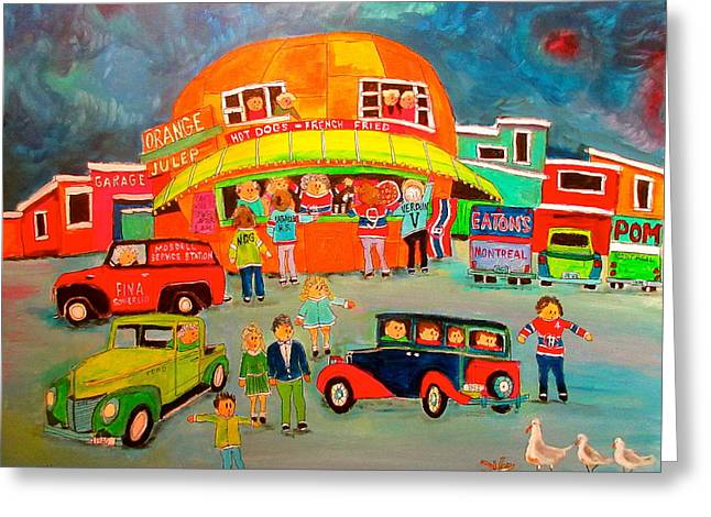 Traffic Control Orange Julep Greeting Card by Michael Litvack