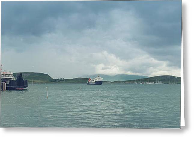 Traffic In Oban Harbour  Greeting Card by Ray Devlin