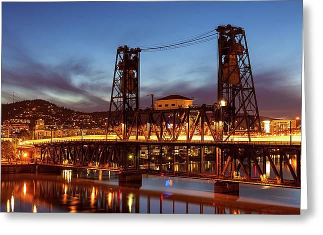 Traffic Light Trails On Steel Bridge Greeting Card by David Gn