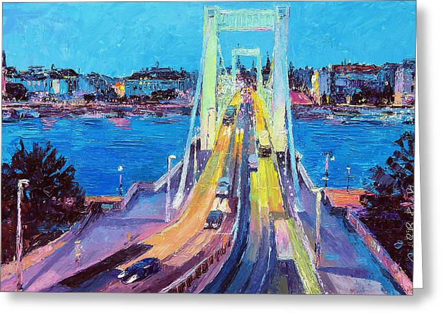 Traffic On Elisabeth Bridge At Dusk Greeting Card