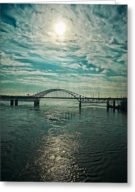 Traffic On The Bridge Greeting Card by Michel Filion