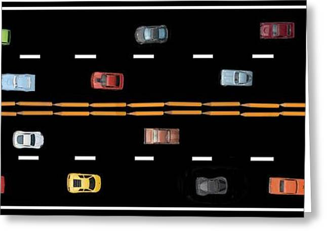 Greeting Card featuring the photograph Traffic - Panorama by Nikolyn McDonald