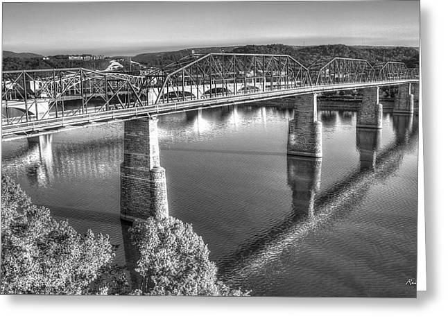 Traffic Reflections The Bridges Of Chattanooga Tennessee Art Greeting Card by Reid Callaway