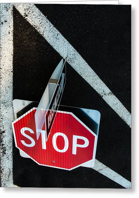 Traffic Signs And Lines Together Greeting Card