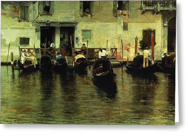 Traghetto Della Maddalena Greeting Card by Giacomo Favretto