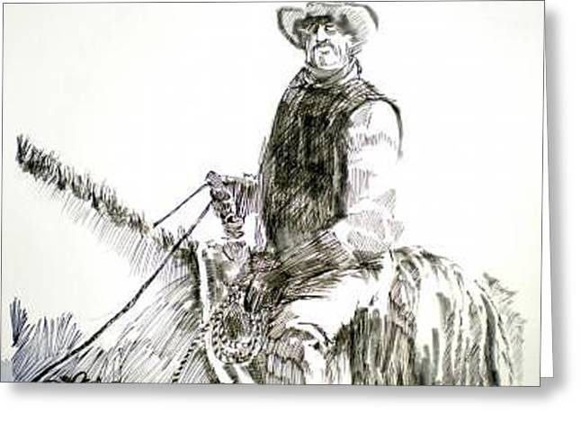 Greeting Card featuring the drawing Trail Boss by Seth Weaver