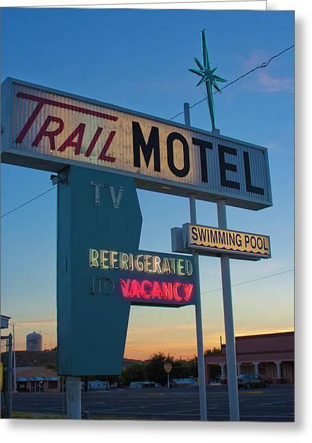 Trail Motel At Sunset Greeting Card by Matthew Bamberg