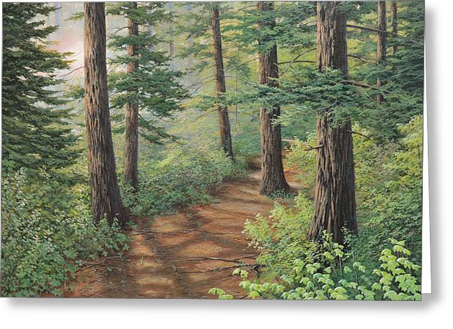 Trail Of Green Greeting Card