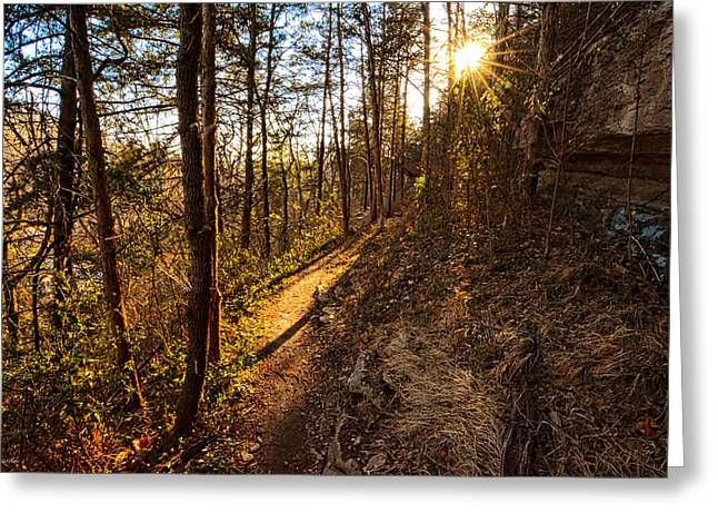 Trail Of Happiness - Blowing Springs Trail Arkansas Greeting Card by Lourry Legarde