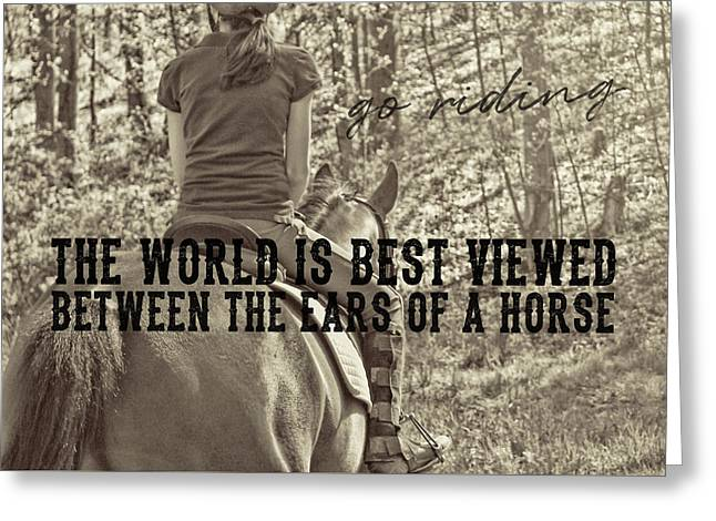 Greeting Card featuring the photograph Trail Ride Quote by Dressage Design