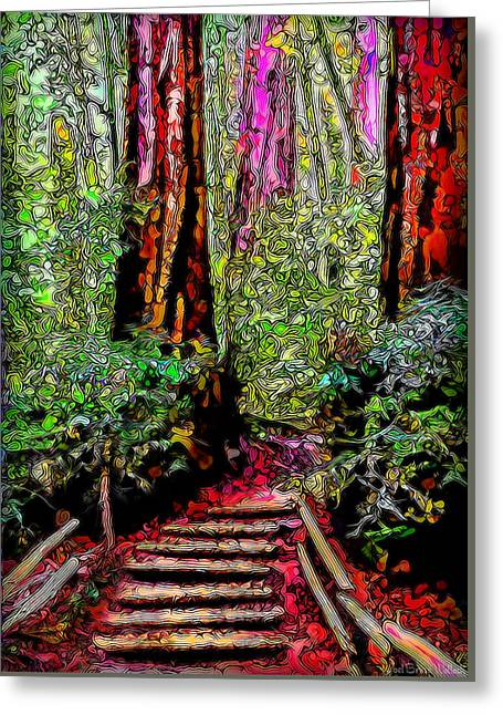 Greeting Card featuring the digital art Trail Through The Redwoods - Tamalpais California by Joel Bruce Wallach