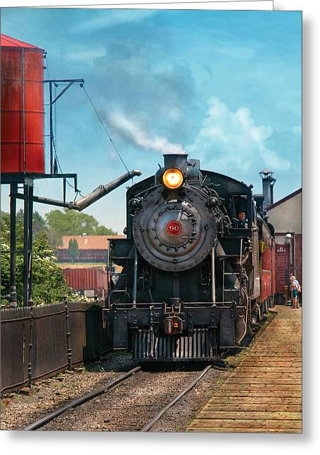 Train - Engine - Strasburg Number 9 Greeting Card by Mike Savad