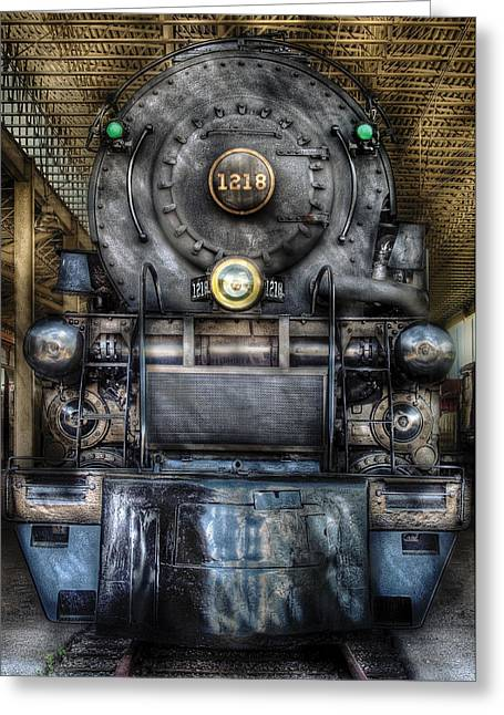 Train - Engine -1218 - Norfolk Western Class A - 1218 - Front View Greeting Card by Mike Savad