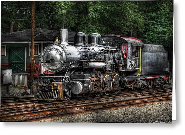 Train - Engine -385 - At The Station  Greeting Card
