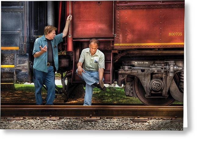 Train - Yard - Shoot'in The Breeze Greeting Card by Mike Savad