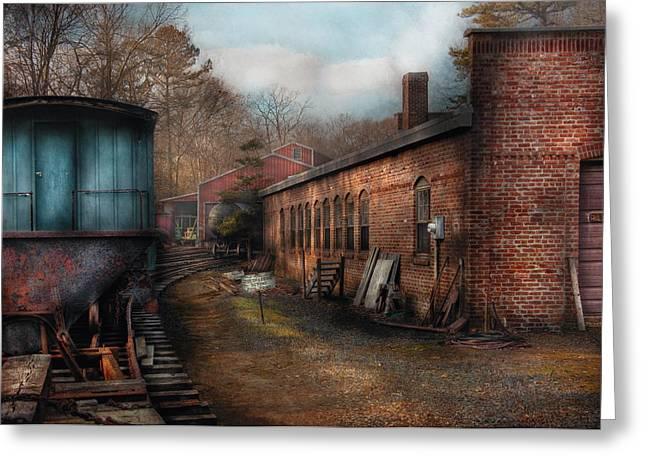 Train - Yard - The Train Yard Greeting Card by Mike Savad